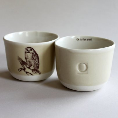 O is for Owl tea cup from Gleena's Shop